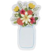 Mason Jar & Flowers Painted Wood Shape