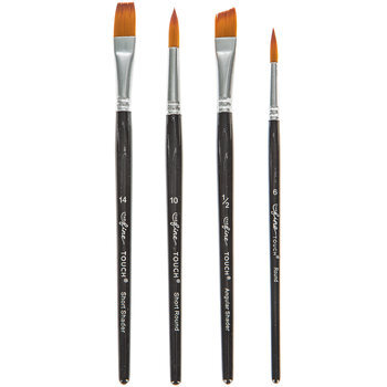Gold Taklon Paint Brushes - 4 Piece Set