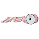 """Ticking Striped Wired Edge Ribbon - 2 1/2"""""""