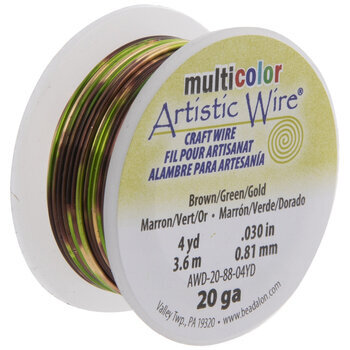 Green 4 Yards MultiColor Artistic Wire 20 Gauge Brown Gold Craft Wire ~