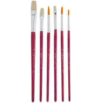 Gold Nylon Bristle All Purpose Paint Brushes - 6 Piece Set