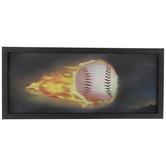 Flaming Baseball Lenticular Wood Wall Decor