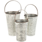 Distressed Ridged Galvanized Metal Bucket Set