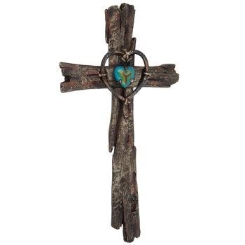 Wood Grain Cross With Heart Wall Decor