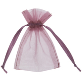 Mauve Sheer Wedding Favor Bags - 12 Pieces