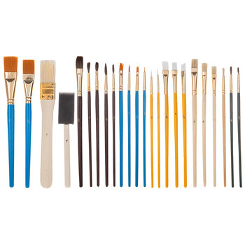 Multi-Purpose Foam & Craft Paint Brushes - 25 Piece Set