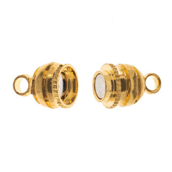 18K Gold Plated Double Bead Magnetic Clasps - 16mm