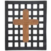 Faith Mesh Wood Wall Cross