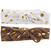 Gold Polka Dot Tie Fabric Headbands