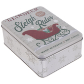 Reindeer Sleigh Rides Tin Box