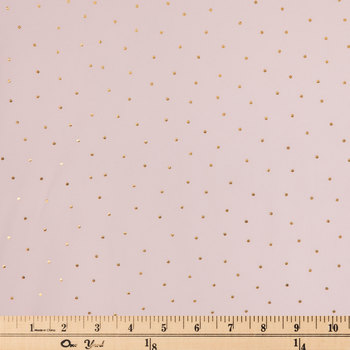 Blush & Gold Foil Polka Dot Jersey Knit Fabric