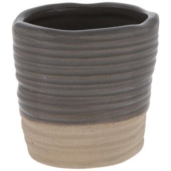 Two-Tone Round Ridged Mini Vase
