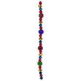 Red, Gold & Blue Faceted Glass Bead Strand