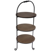 Rustic Three-Tiered Metal Tray