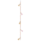 Pink Mixed Bead Strand With Tassels