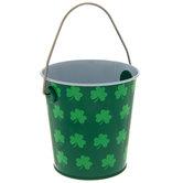 Green Shamrock Metal Bucket
