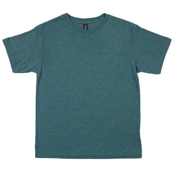 Heather Dark Green Tri-Blend Youth T-Shirt - Large
