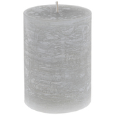 Distressed Silver Pillar Candle