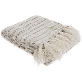 Cream & Gray Striped Throw Blanket