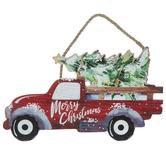 Merry Christmas Truck Wood Wreath Embellishment
