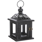 Black Ornate Wood Lantern