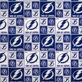 NHL Tampa Bay Lightning Block Cotton Fabric
