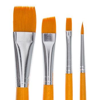Gold Nylon Paint Brushes - 4 Piece Set