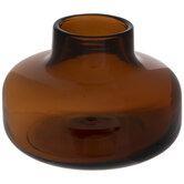 Brown Squat Glass Vase