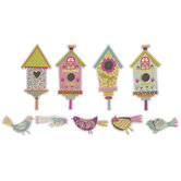 Calico Birds & Birdhouses Cutouts