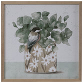 Watercolor Bird & Plant Wood Wall Decor