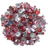 Red, Pink & Clear Round Rhinestones
