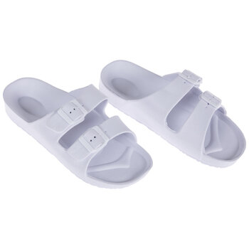 White Buckle Foam Sandals - Size 8