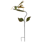 Grasshopper On Leaf Metal Garden Stake