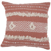 Peach & White Geometric Pillow Cover