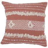 Peach & White Geometric Pillow Cover