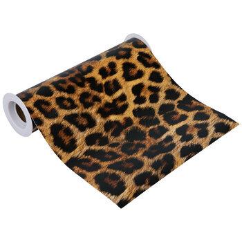 "Leopard Print Faux Leather Wide Ribbon - 8"""