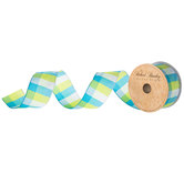 "Blue, Green & White Plaid Wired Edge Ribbon - 1 1/2"""