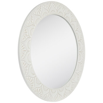 Distressed White Carved Wood Wall Mirror