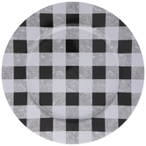 Black & White Checkered Metal Charger Plate