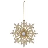 Gold Glitter Fleur-De-Lis Snowflake Ornament