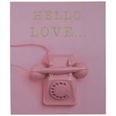 Pink Hello Love Telephone Wood Wall Decor