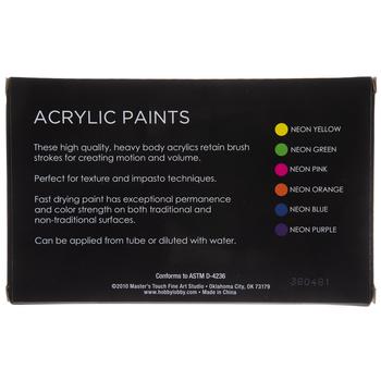 Neon Acrylic Paint - 6 Piece Set