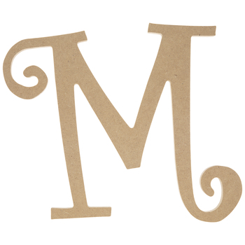 """Curly-Q Wood Letter M - 8"""""""