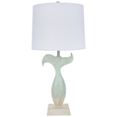 Turquoise & Cream Mermaid Tail Lamp