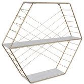Gold Hexagon Three-Tiered Wood Wall Shelf