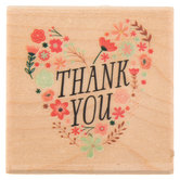 Thank You Floral Heart Rubber Stamp