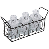 Chicken Wire Caddy With Etched Bottles