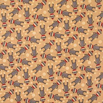 Sock Monkey Cotton Calico Fabric
