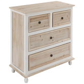 White & Natural Wood Cabinet With Drawers
