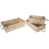 Wood Container With Jute Handles Set